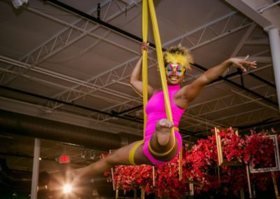 aerialist in hot pink