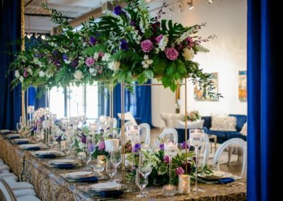 blue white and gold dinner reception