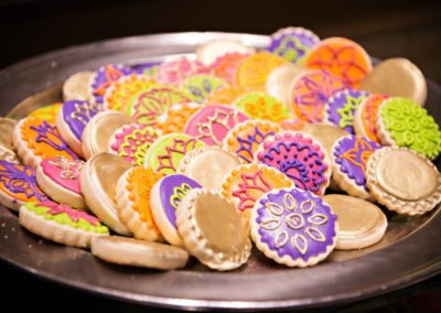 bright colored henna cookies