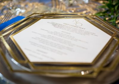 gold gilt place setting and menu