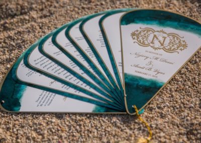 green and gold beach wedding invitation fan