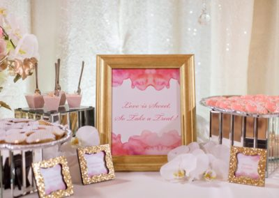 pink and coral dessert table