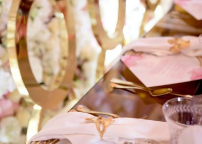 pink white and gold reception