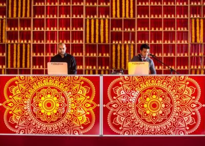 red and yellow dj booth