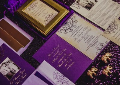 social gala_purple and gold invitations